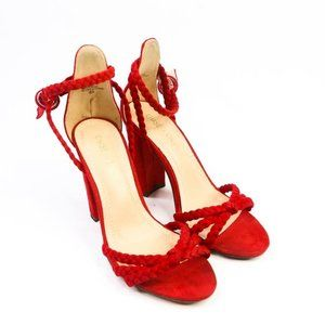 Chase & Chloe Peppa Red Rope Heeled Sandals